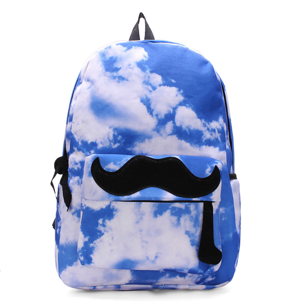 Unisex Canvas Sky Moustache Galaxy Backpack Travel Rucksack School Bag