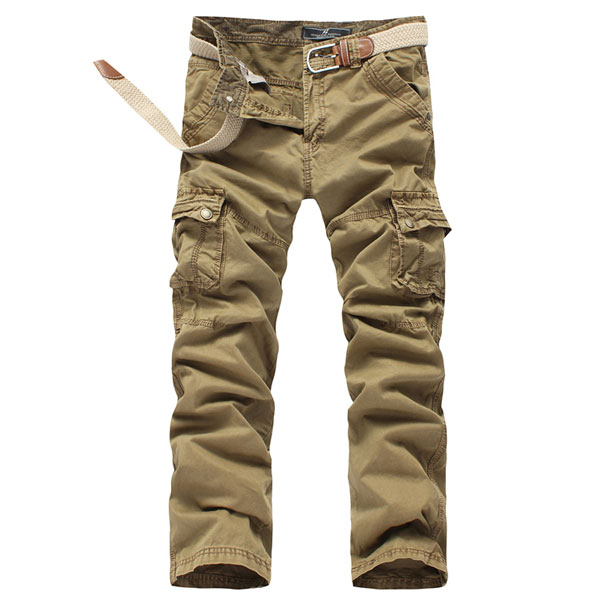 Mens  Large Pockets Straight Leg Soft Cotton Cargo Pants
