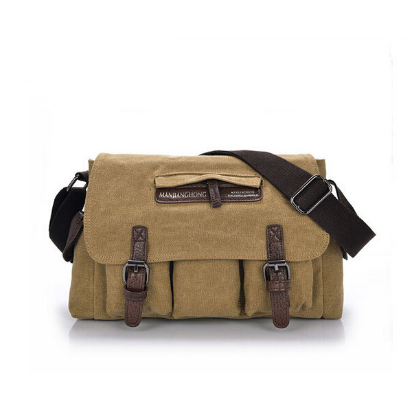 Mens Vintage Canvas Messenger Bag Travel Single Shoulder Bag