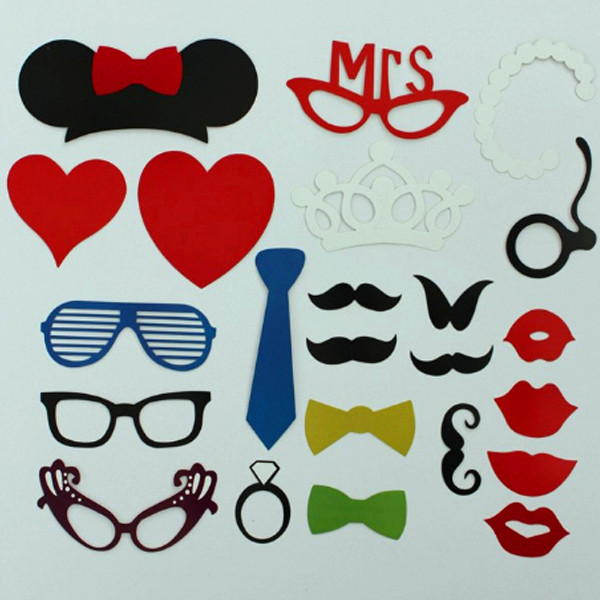 23 Pcs DIY Photo Booth Props Hat  Mustache On A Stick Wedding Favor