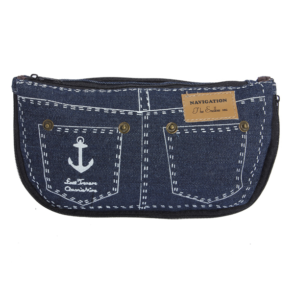 Women Canvas Jeans Pencil Case Makeup Bag Cosmetic Pouch Purse