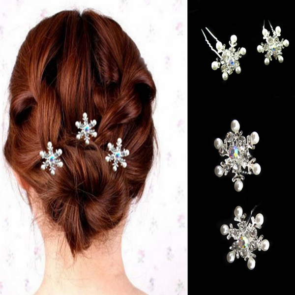 Bridal Wedding Snow Pearl Diamante U Clamp Hair Pins