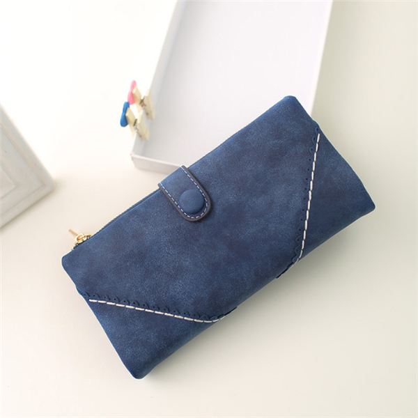 Women Synthetic PU Leather Clutch Bag Zipper Button Purse