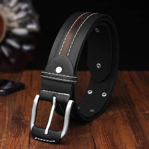 110CM Men PU Leather Classic Stylish Rivet Pin Buckle Belt