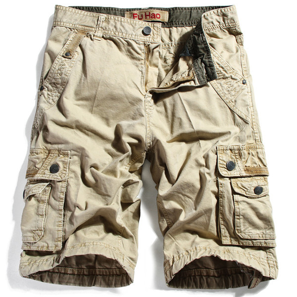 Mens Cotton Multi Pockets Solid Color Thin Casual Cargo Shorts
