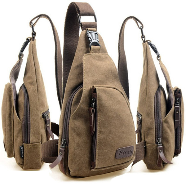 Men Canvas Backpack Shoulder Chest Hiking Bag