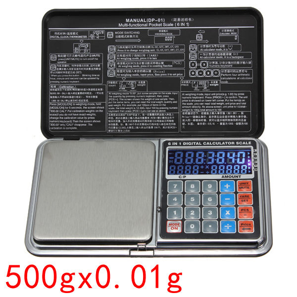500g x 0.01g Multi-functional Jewelry Pocket Digital Scale Grams