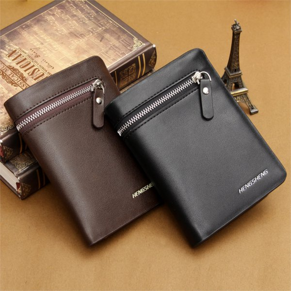 HENGSHENG Brand PU Leather Men's Bifold Wallet Credit ID Card Holder Businessman Purse