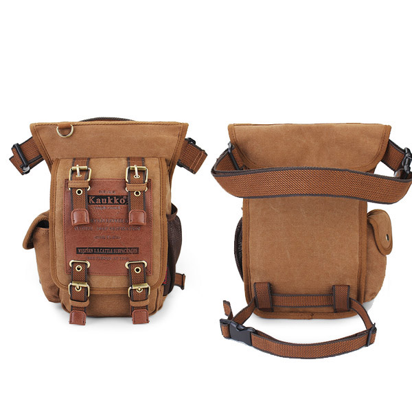Men's Retro Canvas Messenger Waist Leg Bag Travel Crossbody Bags