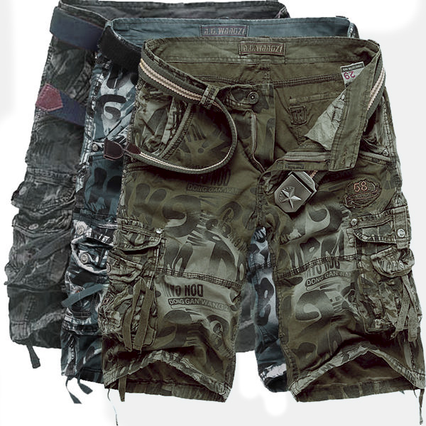 Mens Fashion Camo Shorts Large Multi Pockets Cargo Short Pants