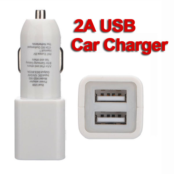 2A Dual USB Car Charger Adapter For iPad iPhone Cellphone