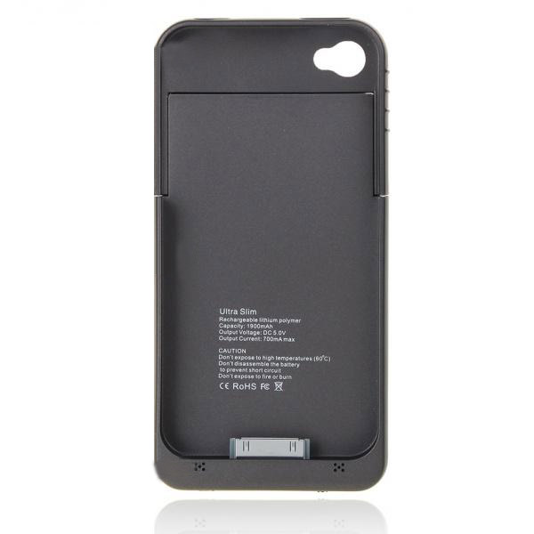 1900mAh Rechargeable External Backup Battery Case For iPhone 4 4S
