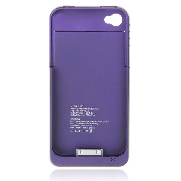 1900mAh External Backup Battery Case Power Charger For iPhone 4G 4S