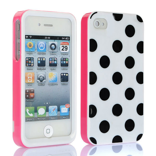 3 in 1 Pink Black Polka Dots Hard Back Cover Case For iPhone 4S 4G