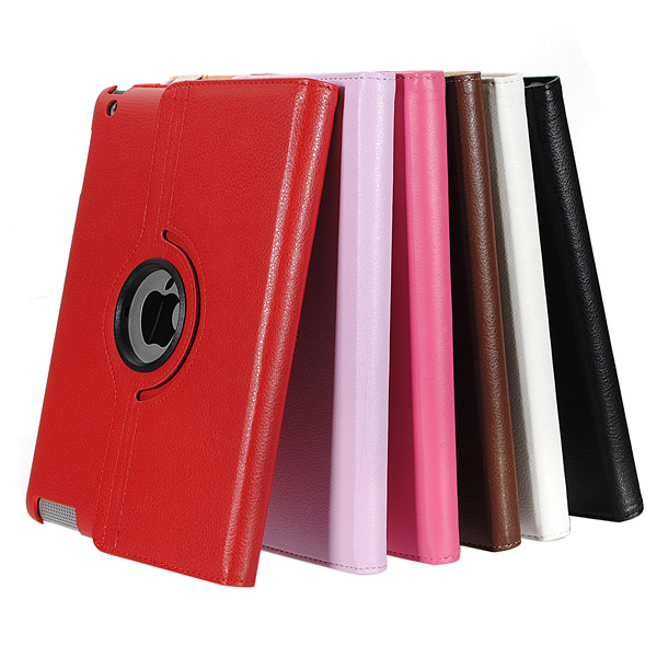 360 Rotating PU Leather Hard Back Case Smart Cover Stand For IPad 2 3