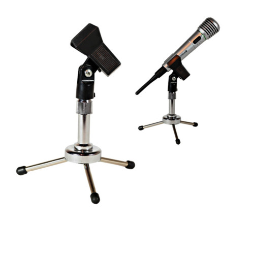 3.5cm Mini Folding Desktop Microphone Stand With Mic Clip