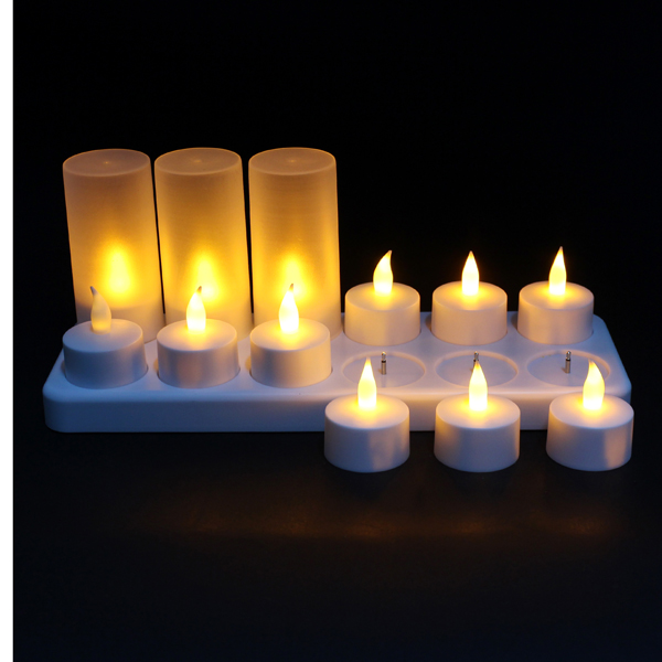 12 LED Night Rechargeable Flameless Candle Light For Xmas Party