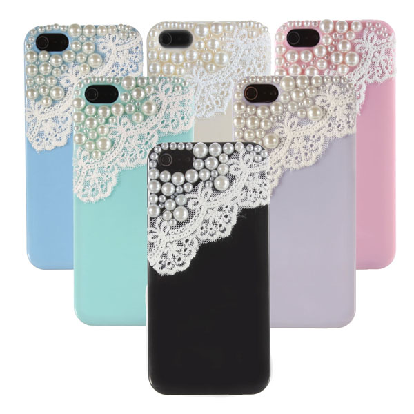 3D Lace Pearl Ice Cream Fashion Style Hard Cover Case For iPhone 5