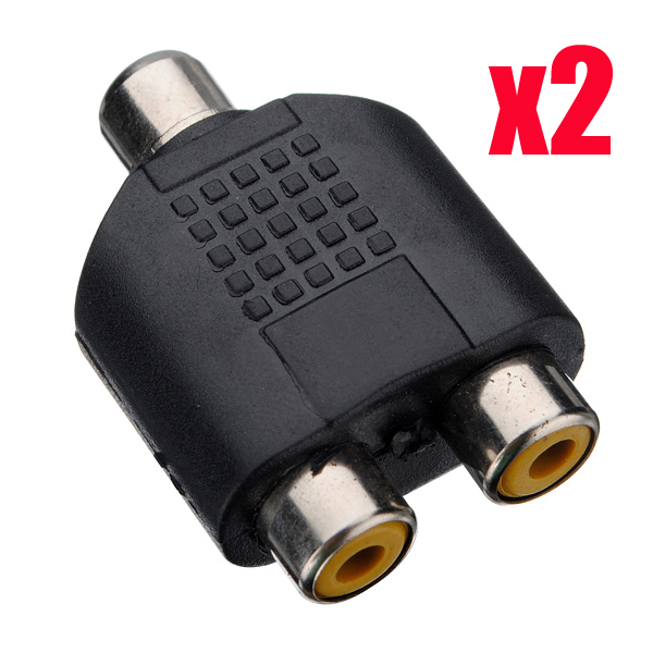 2 pcs 1 Female to 2 Female RCA PLUG AV Splitter Adapter