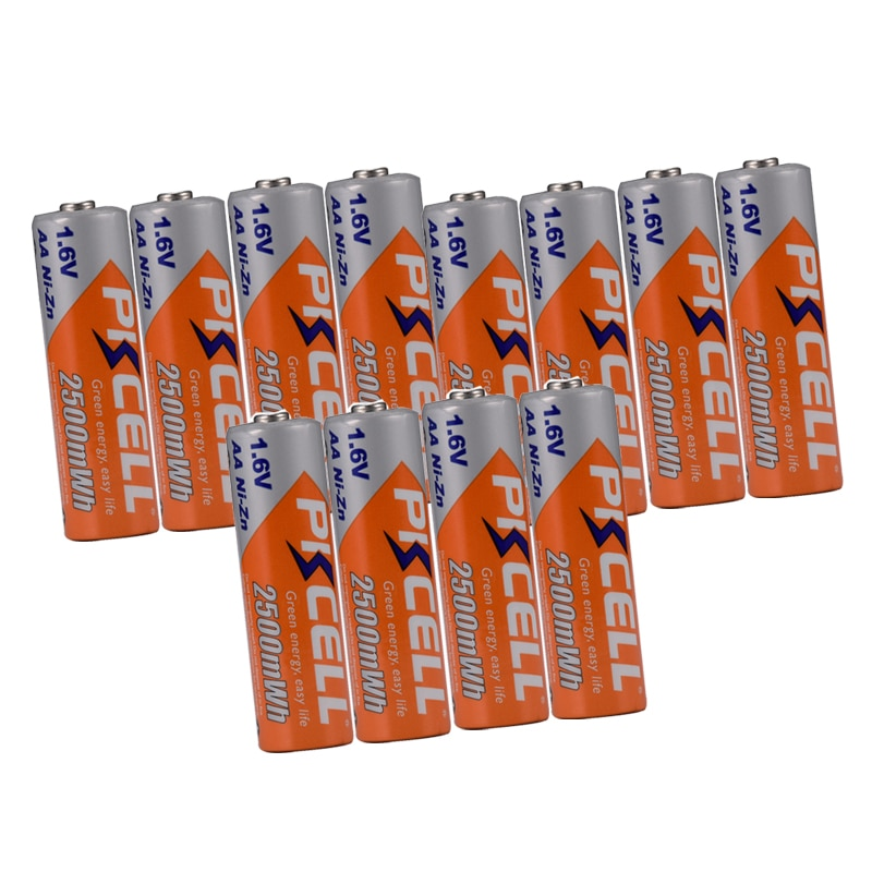 12Pcs PKCELL NIZN AA Rechargeable Battery aa ni-zn 2500mwh 1.6v NIZN Batteries For Digital cameras flash lights electric toy