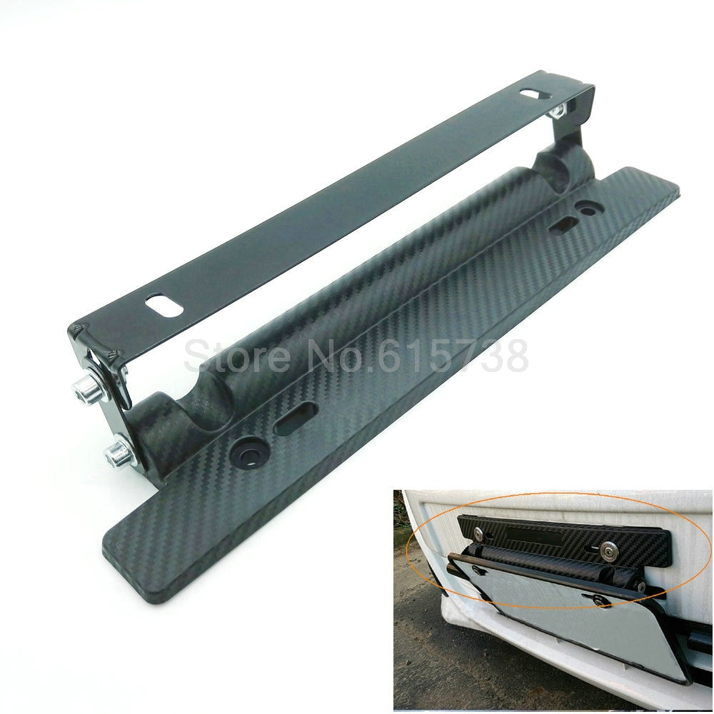 High quality BlackCarbon Fiber Auto adjustable number License Plate Relocator Frame Bracket Holder