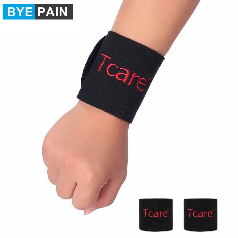 1Pair BYEPAIN Magnetic Therapy Tourmaline Wrist Brace Support Protection Belt Spontaneous Heating Massager for man women
