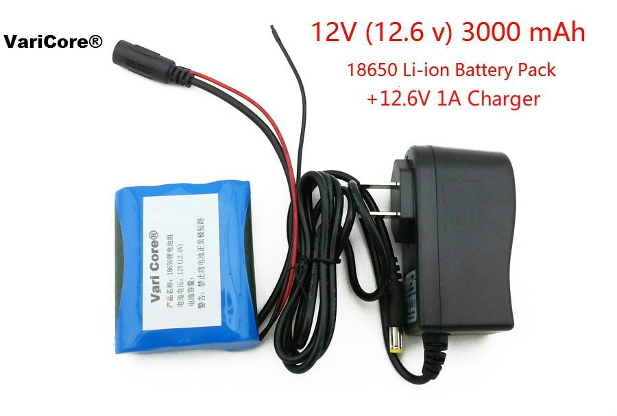 12 V 3000 mAh 18650 Li-ion Rechargeable battery and 12.6V  1A Charger cctv camera