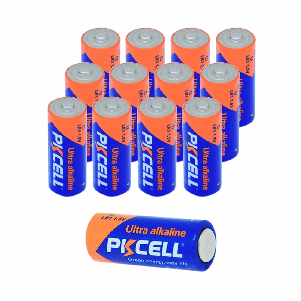 12 X PKCELL Battery 910A LR1 SIZE N AM5 E90 MN9100 Alkaline Battery Dry Batteries for Doorbell
