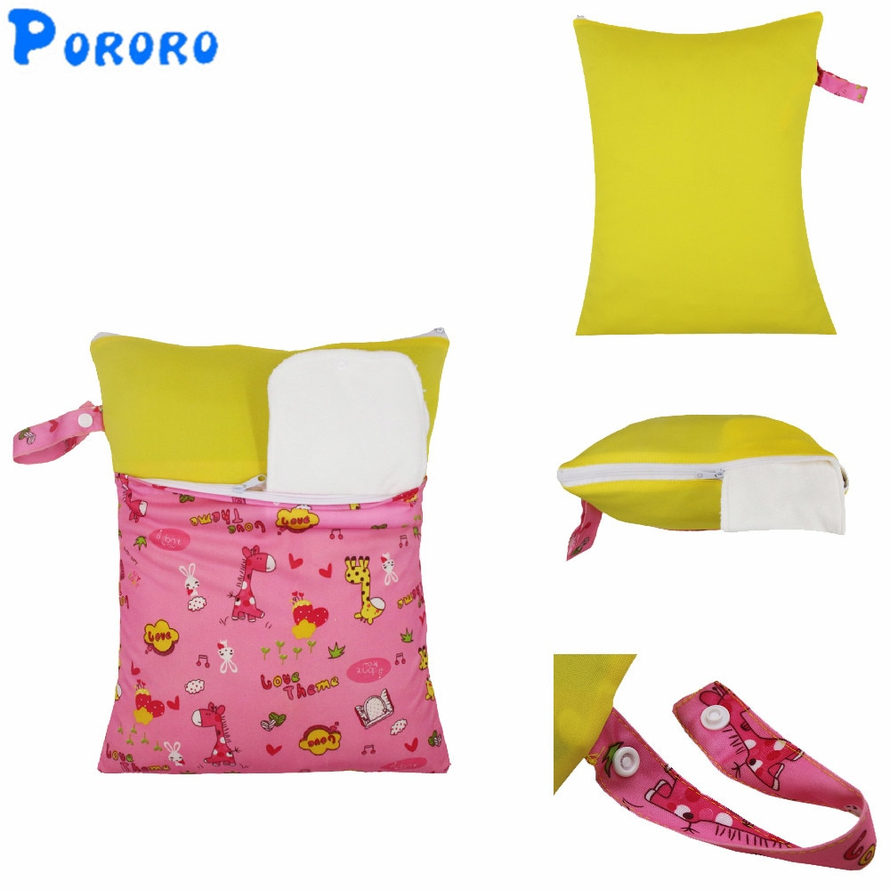 30x40cm Washable Baby Dry Diaper Bags Nappy Reusable Waterproof Patchwork Double Pockets Cloth Diaper Wet Dry Wetbag Bags