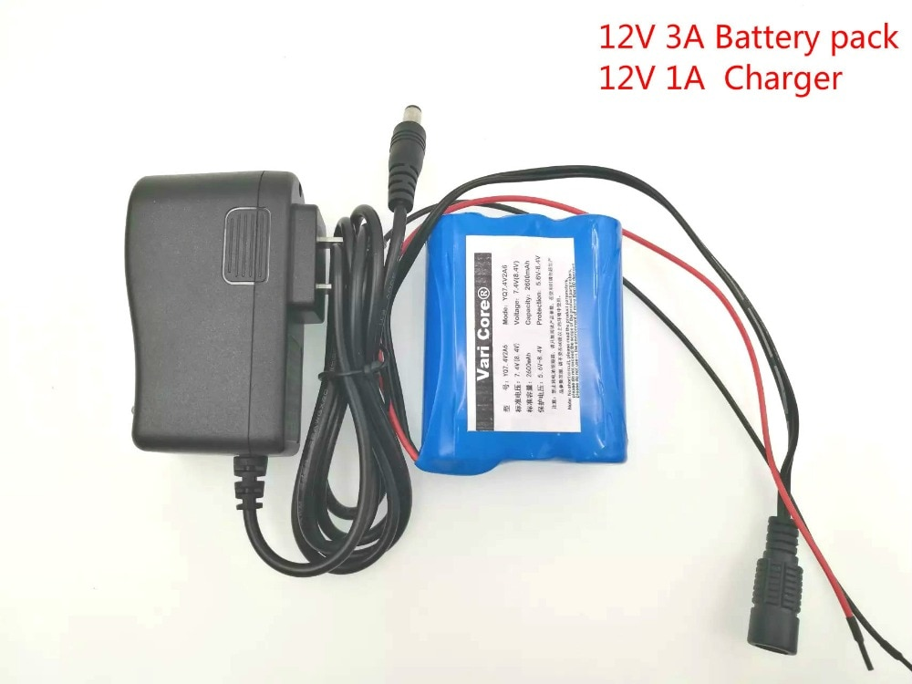 12 V 3000 mAh 18650 Li-ion Rechargeable battery Pack for CCTV Camera 3A Batteries+ 12.6V 1A Charger