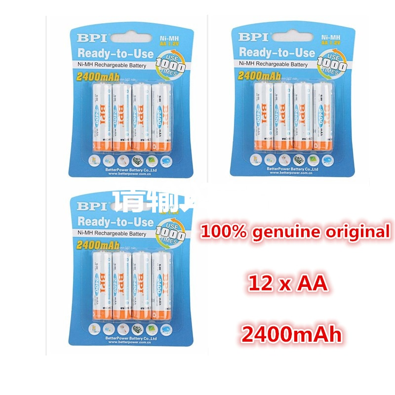 12pcs 100% genuine original BPI 2400mAh NiMH AA rechargeable batteries, high-quality toys, cameras, flashlights and battery