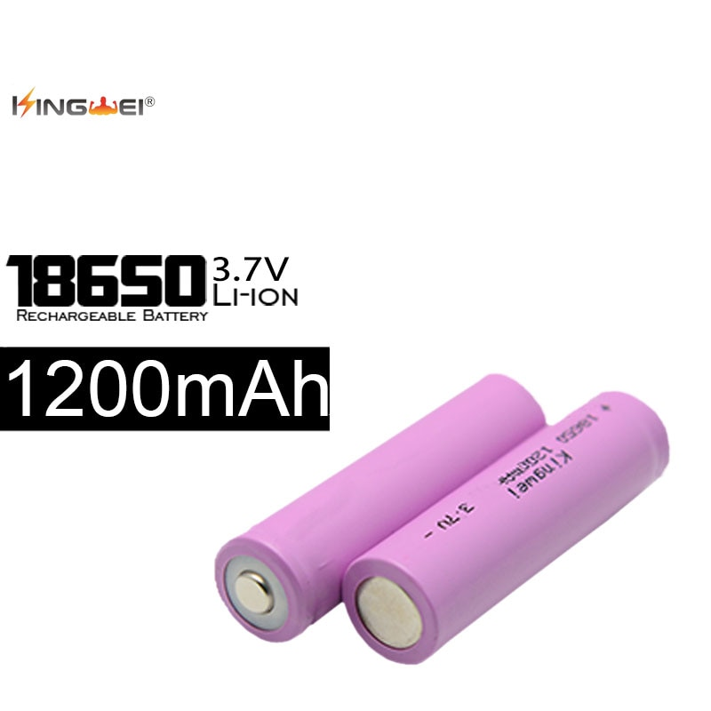 10pcs/lot Kingwei 18650 Batteries 3.7V 1200MAH Li-Ion Battery Recharging 500 Times For Electronic Products Toys for flashlight