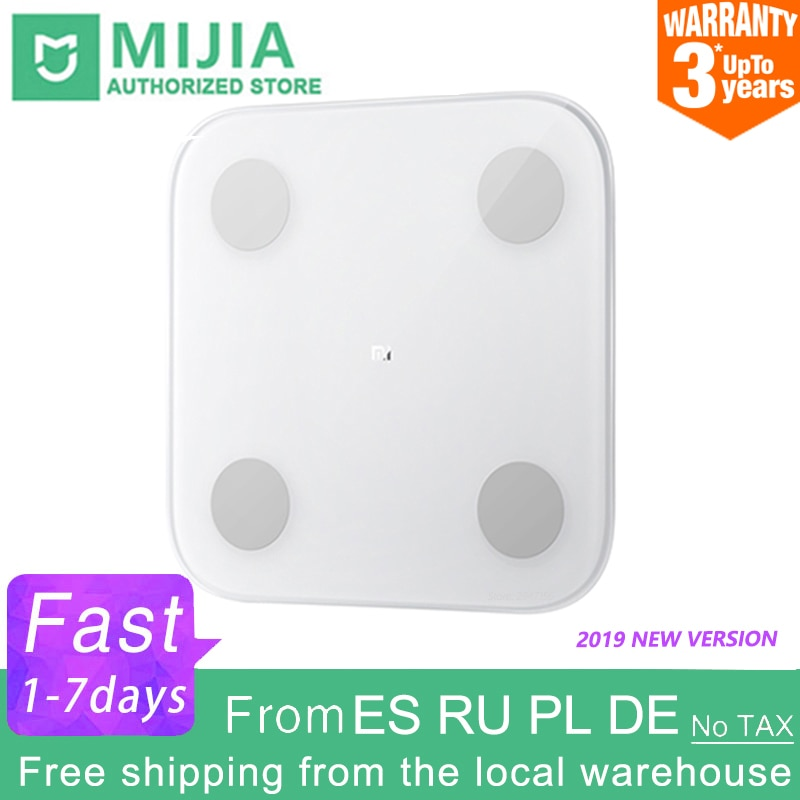 100% Original Xiaomi Mi Smart Body Fat Scale 2 Mifit APP Body Composition Monitor With LED Display Hidden And Big Feet Pad